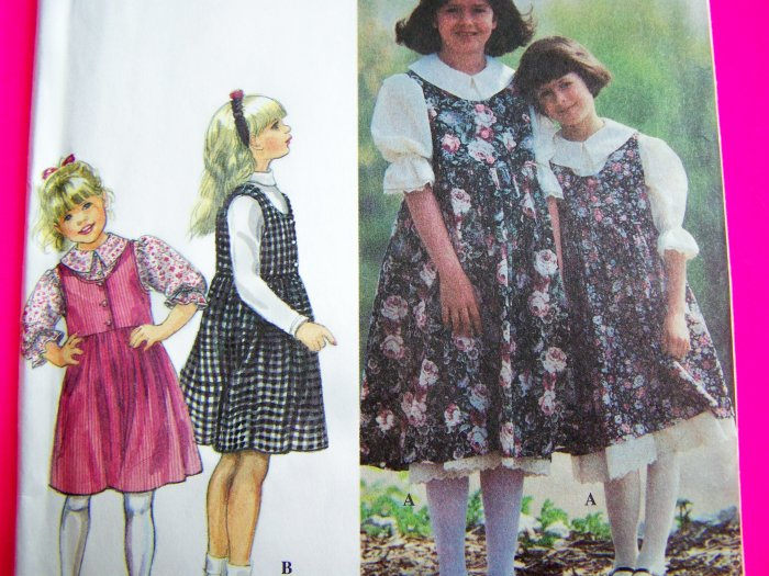 Girls Sewing Pattern Jumper Dress Puff Sleeve Shirt Petticoat 9237