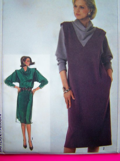 80s Vintage Sewing Pattern Sz 14 Straight Dress Shoulder Flange Cowl Neck Long Sleeves 7042