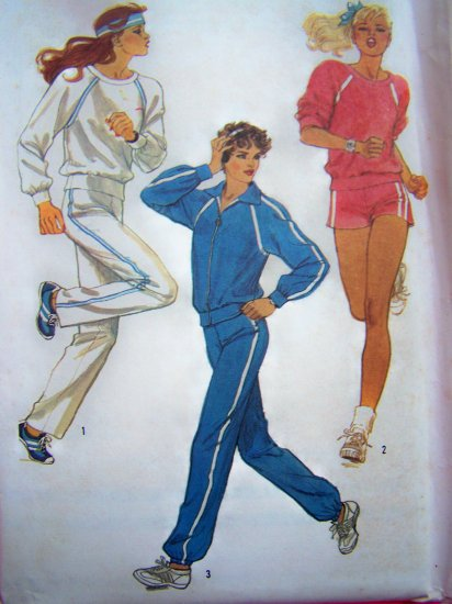 1980s Misses Track Jogging Suit Workout M L XL Lounge Wear Vintage Sewing Pattern 6620