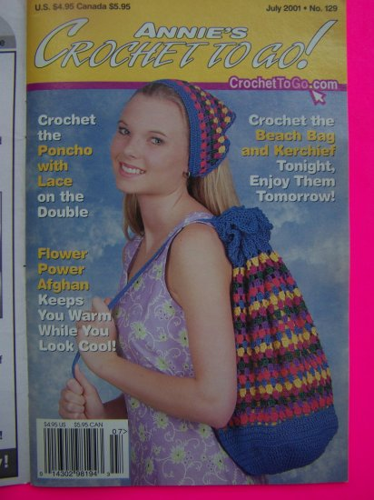 2001 Annie's Crochet To Go Back Issue Pattern Book # 129