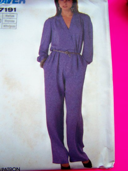 Vintage Sewing Pattern Jumpsuit Medium 14 16 Simplicity 7191