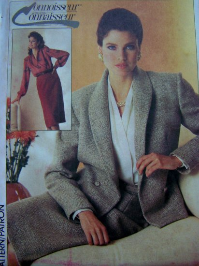 Vintage Sewing Pattern Lined Suit Front Wrap Long Sleeve Blouse Skirt 7079