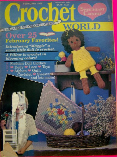 Vintage Crochet World Pattern Magazine 25 + Crocheting Patterns 1988 International Dolls