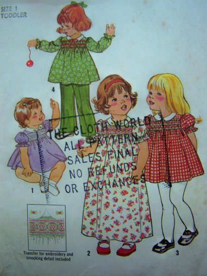 Vintage Girls Smocked Dress Short or Long Maxi Smocking Sewing Pattern 7239
