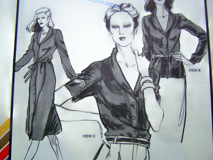 1970s Shawl Collar Dress or Long Sleeve Blouse XS S M L XL XXL Vintage Sewing Pattern 1565