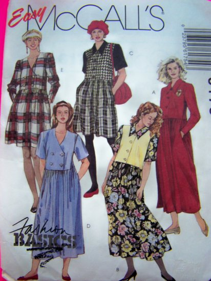 Misses Dress Plus Size 18 20 Drop Waist Gathered Skirt Sewing Pattern 6175