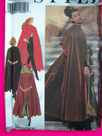 1990s Lined Cape Evening Opera Length Collar or Hood Misses S M L XL Sewing Pattern 2377