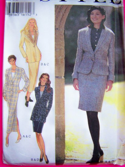 Misses 6 8 10 12 14 16 Suit Blazer Jacket 2 Length Slim Skirts Sewing Pattern 2547