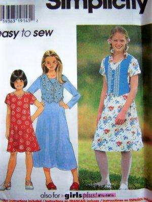 Girls Flared Dress 2 Lengths Optional Mock Vest 7 8 10 12 14 Sewing Pattern 7223