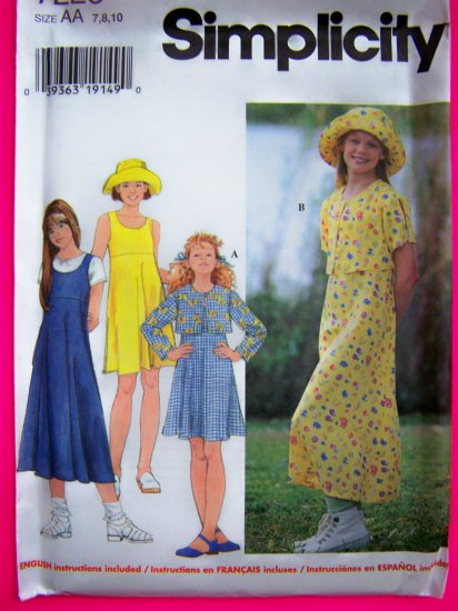 Girls 7 8 10 Jacket Dress or Jumper Sundress Hat Sewing Pattern 7225