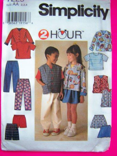 Childs Toddler 2 3 4 Jacket Vest Shirt SKirt Pants Sewing Pattern 7229