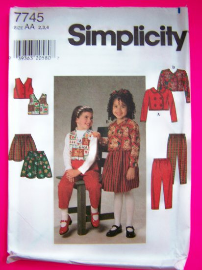 Toddler Girls 2 3 4 Jacket Vest Full Skirt Pants Sewing Pattern 7745