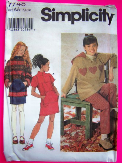 Fleece Dress Top Skirt Pants Girls 7 8 10 Sewing Pattern 7748