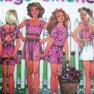 Open Tie or Button Back Top Pull On Shorts Girls 12 14 Sewing Pattern 7774