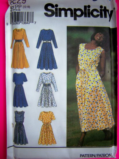 Misses Flared Dress Neck Variations Tie Belt 12 14 16 18 Simplicity Sewing Pattern 8229