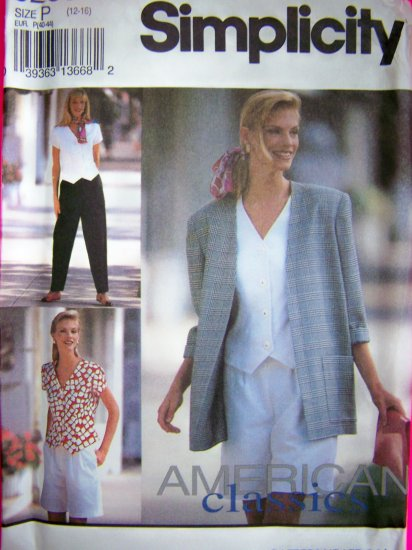 1990s Ladies Suit Jacket Pants Shorts Shirt 12 14 16 Simplicity Sewing Pattern 8239