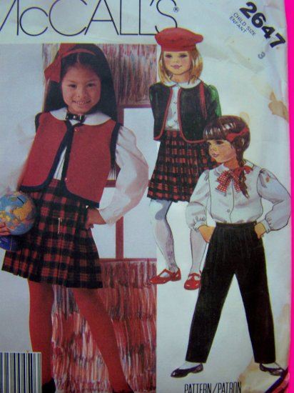 Girls 3 Toddler Jacket Vest Shirt Pleated Wrap Skirt Pants Bow Tie Vintage Sewing Pattern 2647