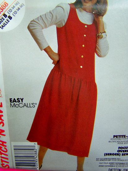 Vintage 1980s Jumper Dress Long Sleeve Shirt 12 14 16 Sewing Pattern 4388