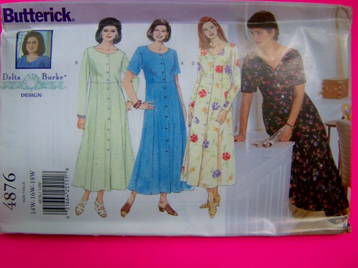 Plus Size Flared Dress Princess Seams 14W 16W 18W Delta Burke Sewing Pattern 4876