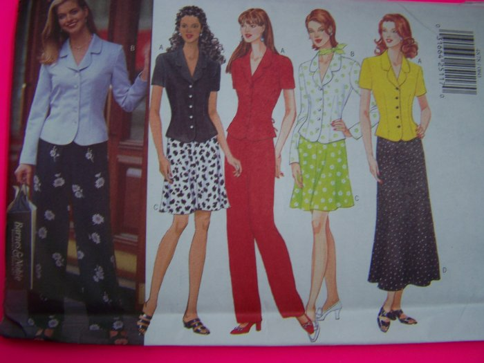 90s Misses Semi Fitted Tie Back Shirt A Line or Flared Skirt Pants 12 14 16 Sewing Pattern 4878