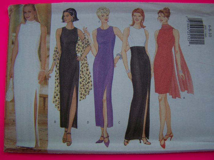 Misses Evening Gown or Short Dress Chiffon Scarf 6 8 10 Sewing Pattern 4881