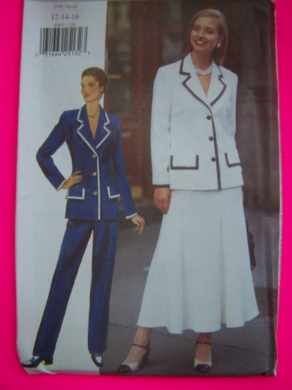 Misses Suit Jacket Flared Skirt Tapered Pants 12 14 16 Butterick Sewing Pattern 4883