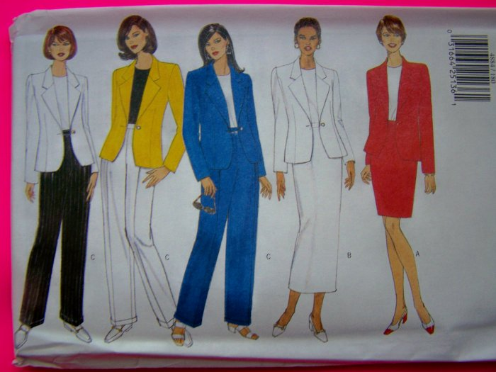Suit Jacket Top Skirt Pants Sz 12 14 16 Butterick Sewing Pattern 4884