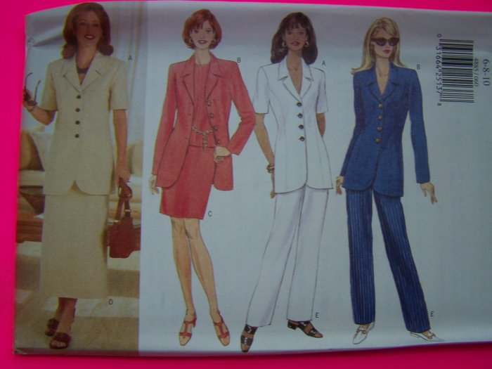 Misses Easy Jacket Slim or Tapered Skirt Pants 6 8 10 Butterick Sewing Pattern 4885