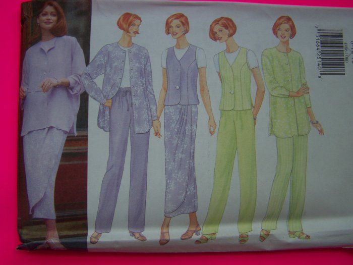 Misses Suit Shirt - Jacket Vest Top Skirt Pants 8 10 12 Sewing Pattern 4886