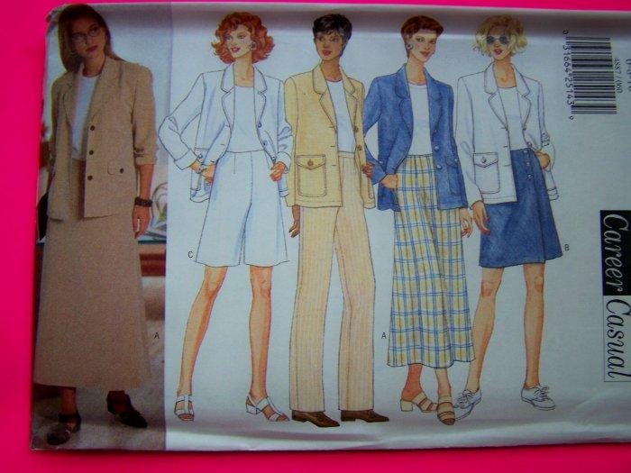 Misses Suit Jacket Skirt Skort Shorts Pants 6 8 10 Sewing Pattern 4887