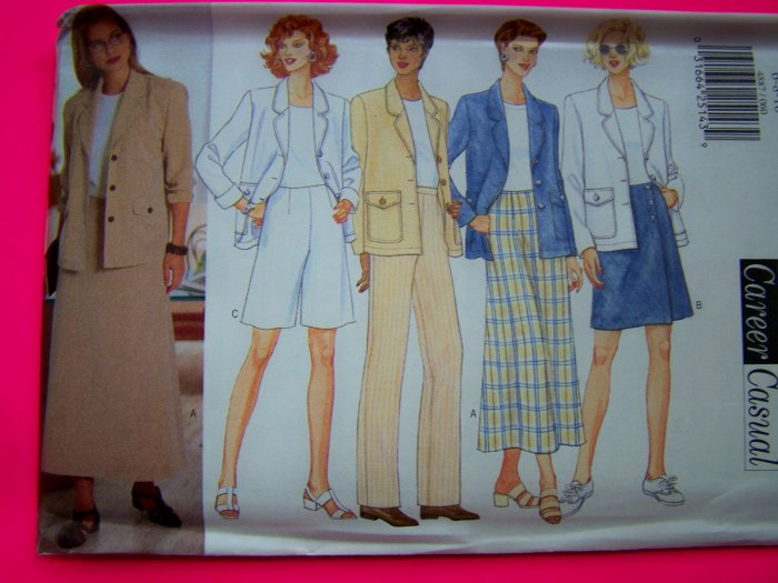 Misses Career Casual Separates Suit 18 20 22 Plus Size Butterick Sewing Pattern 4887