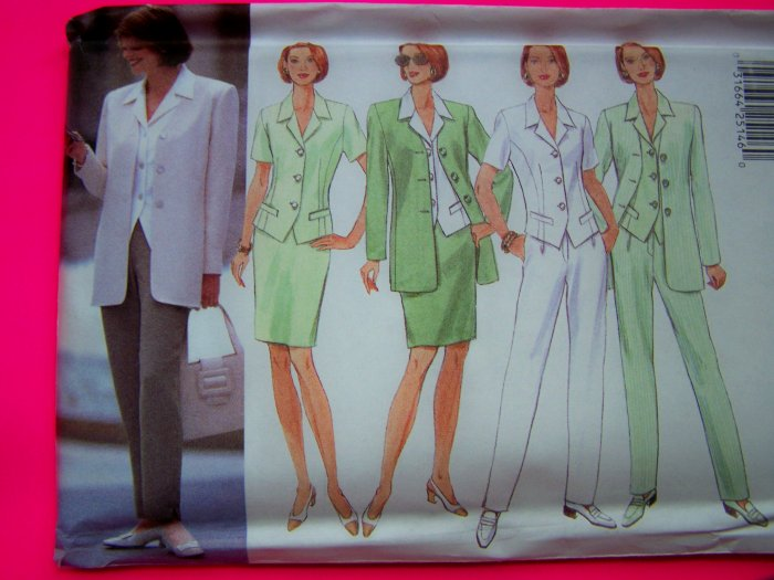 Misses Suit Jacket Top Slim Skirt Tapered Pants 18 20 22 Sewing Pattern 4888