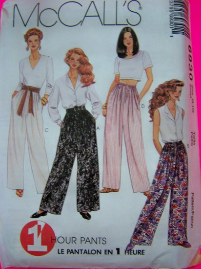 Misses 12 14 Pants Straight Wide Leg Drawstring or Elastic Waist 1 Hour Sewing Pattern 6930