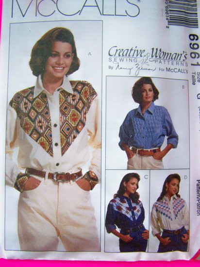 Womens Plus Size 20 22 24 Long Sleeve Western Shirts Sewing Pattern 6961