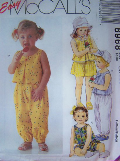 Girls 2 3 4 Toddler Tent Top Pants Shorts Bloomers Sewing Pattern 6968