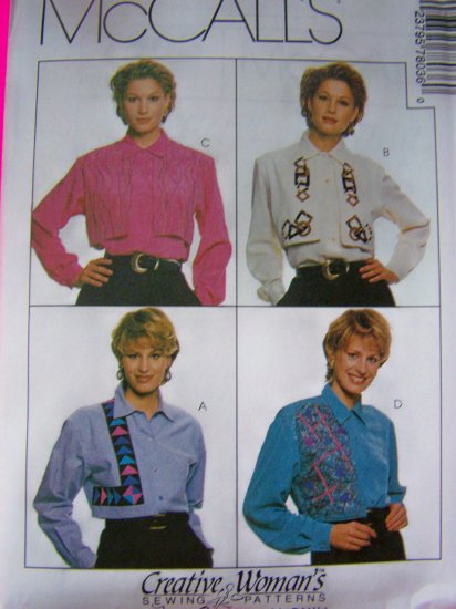 Long Sleeved Shirts Blouse Overlay 12 14 16 McCalls Sewing Pattern 7803