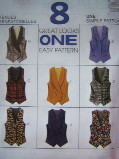 McCalls 7819 Misses Vest Sewing Patterns 10 12 14 Optional Back Tie Uncut