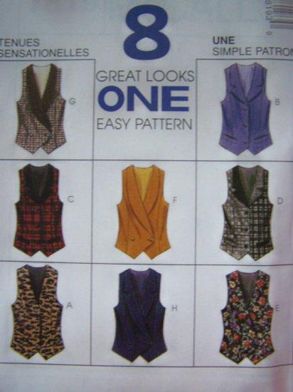 McCalls 7819 Misses Vest Sewing Patterns 10 12 14 Optional Back Tie Uncut