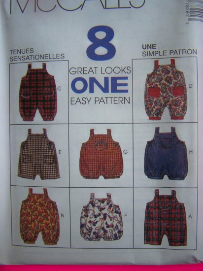 Infant Onesie Jumpsuit Romper Overalls  S M L XL Sewing Pattern McCalls 7829