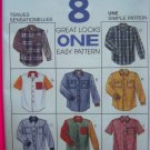 Misses or Mens 8 Small Shirt Short Long Sleeve Oversized Sewing Pattern McCalls 7834