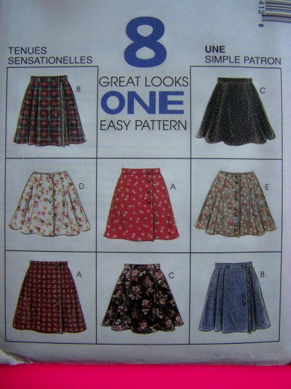 1990s Girls 7 8 10 School Uniform Skirts 8 Styles McCalls Sewing Pattern 7841