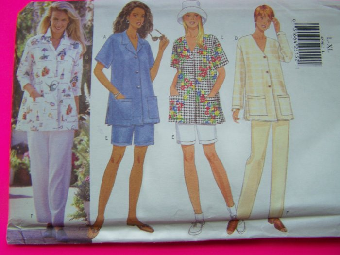 Plus Size 16 18 20 22 Smock Jacket Top Slim Shorts Pants Sewing Pattern 4890