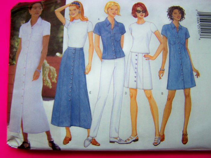 Misses A Line Dress or Skirt Tapered Pants Shirt 6 8 10 12 Sewing Pattern 4892