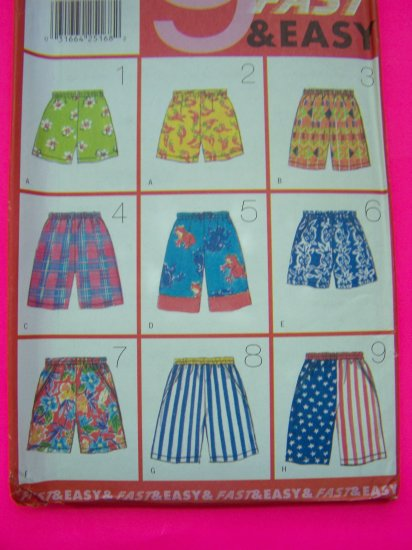 Misses or Mens Shorts XS S M Side Pockets Unisex Sewing Pattern 4896