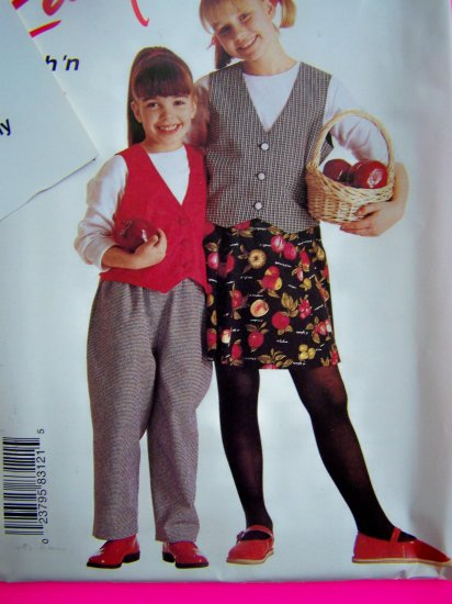 Girls 2 3 4 5 6 Lined Vest Pull On Pants Skirt Sewing Pattern 8312 Easy Uncut