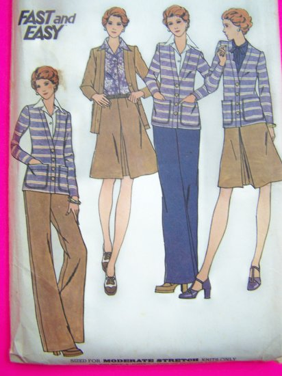 70s Vintage Sewing Pattern Suit A Line SKirt Cardigan Jacket Pants 3860