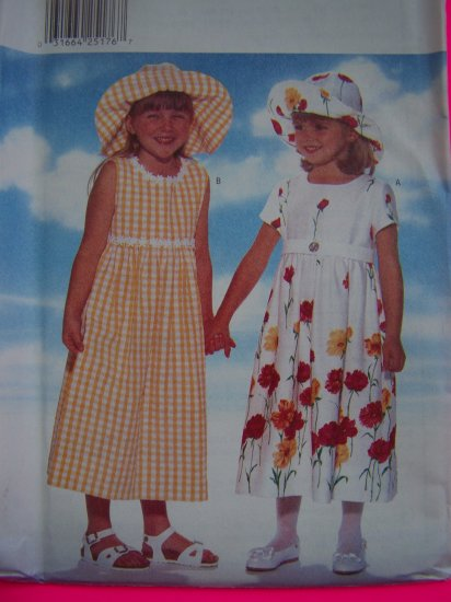 FREE USA S&H New Toddler Girls 2 3 4 Empire Back Ties Long Midi Dress Hat Sewing Pattern 4901