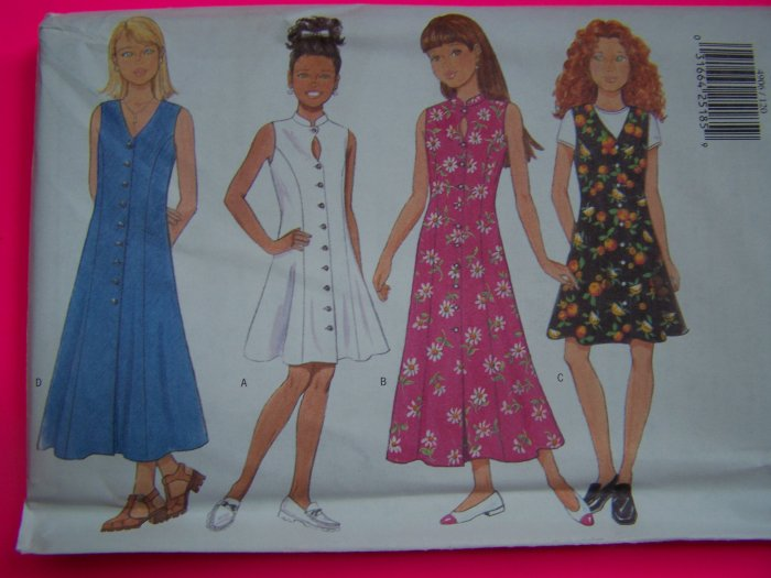 Girls 7 8 10 Easy Dress A Line or Flared Princess Seam Sewing Pattern 4906