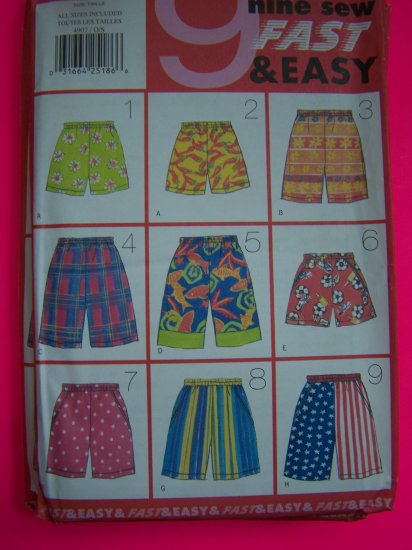 Uncut Sewing Pattern 4907 Girls Boys Unisex Shorts Jams Beach Elastic Waist Side Pockets