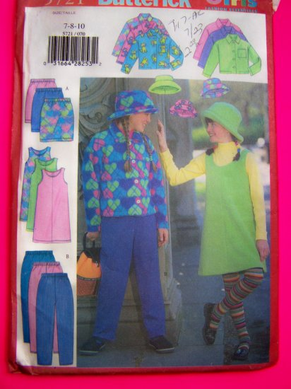 Girls Fleece  Jacket Skirt Pants Hat 7 8 10 Sewing Pattern 5721